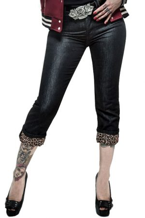Black Capri Jeans - Leopatch