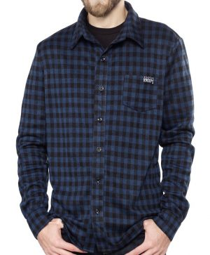 Plaid Button Up Shirt (Navy)