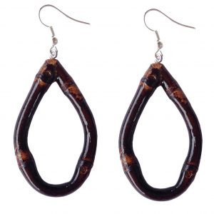 Oval Bamboo Earrings (brunt wood)