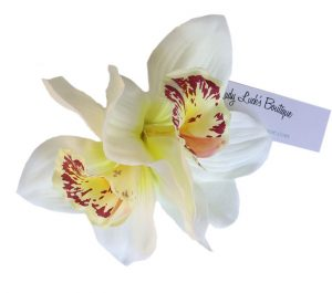 Ginger Double Cream Orchid Hair Flower