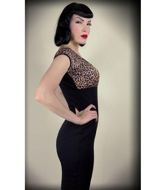leopardmönstrad klänning rockabilly kläder dam leopard