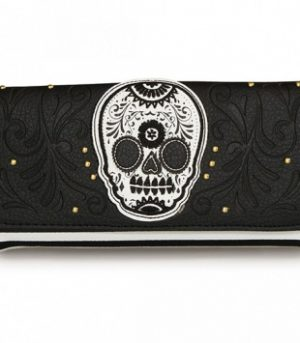 Black/white Stripe Skull Wallet