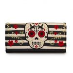 Tan/Black Stripe Skull Wallet
