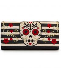 Tan/Black Stripe Skull Wallet