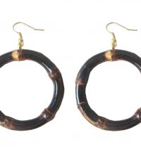 Round Bamboo Earrings (burnt wood)