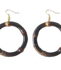Round Bamboo Earrings (burnt wood)