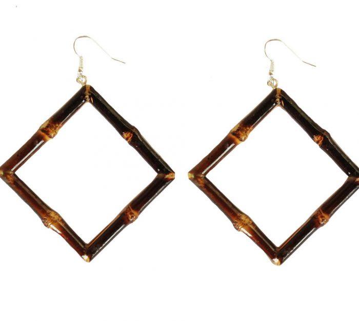 Square Bamboo Earrings (burnt wood)