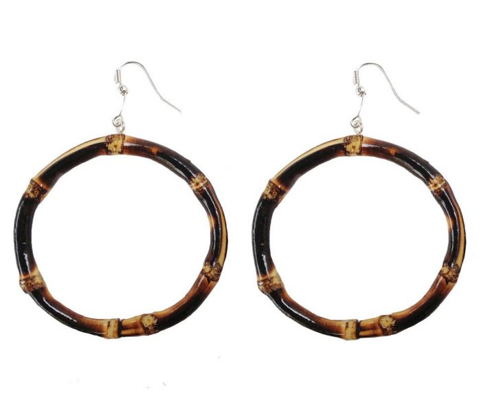 Oversized Round Bamboo Earrings (burnt wood)