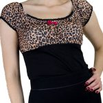 Leopardmönstrad top rockabilly kläder dam leopard