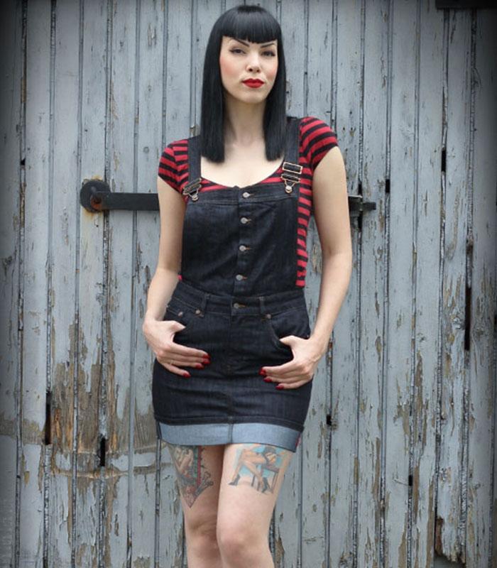 Rumble59 hängsel jeans kjol
